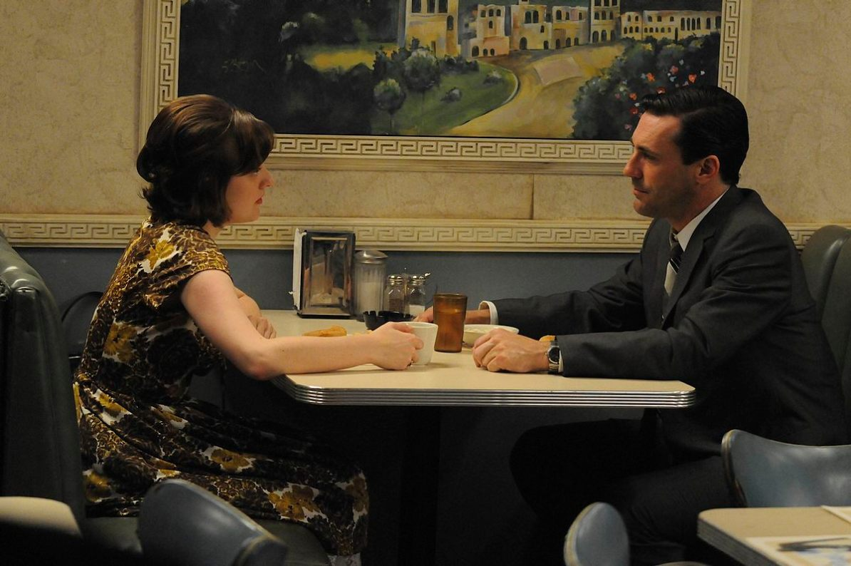 Peggy Olson (Elisabeth Moss) and Don Draper (Jon Hamm) - Mad Men - Season 4, Episode 7 - Photo Credit: Michael Yarish/AMC